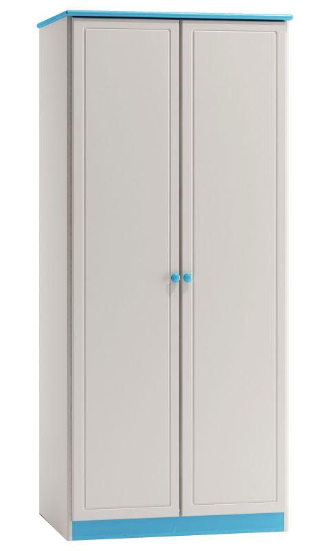 Kleiderschrank Kiefer Vollholz massiv weiß blau lackiert 008 - Abmessung 182 x 80 x 60 cm (H x B x T)