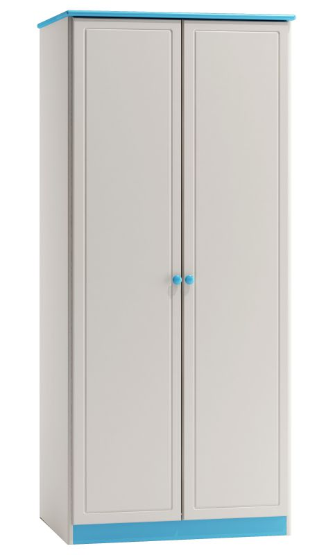 Kleiderschrank Kiefer Vollholz massiv weiß blau lackiert 008 - Abmessung 160 x 90 x 60 cm (H x B x T)