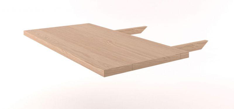 Tischverlängerung Eiche Vollholz massiv natur Pirol 113 - Abmessung 80 x 45 cm