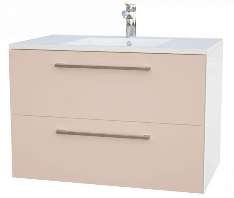 Waschtischunterschrank Bijapur 19, Farbe: Beige glänzend – 50 x 76 x 47 cm (H x B x T)