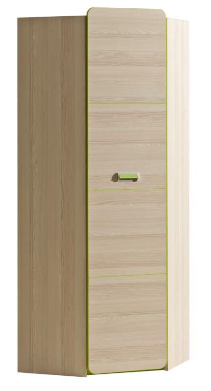 Jugendzimmer - Drehtürenschrank / Kleiderschrank Dennis 14, Farbe: Esche Grün - Abmessungen: 188 x 71 x 71 cm (H x B x T)