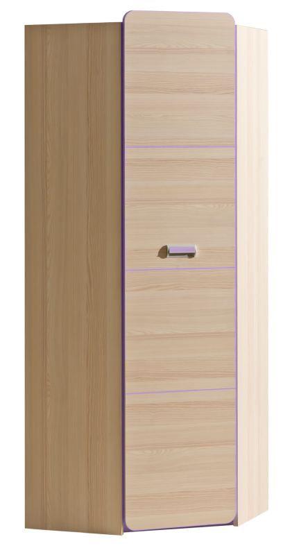 Jugendzimmer - Drehtürenschrank / Kleiderschrank Dennis 14, Farbe: Esche Lila - Abmessungen: 188 x 71 x 71 cm (H x B x T)