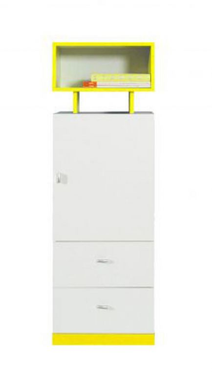 """Jugendzimmer - Schrank """"Geel"""" 29, Weiß / Gelb - Abmessungen: 135 x 45 x 40 cm (H x B x T)"""