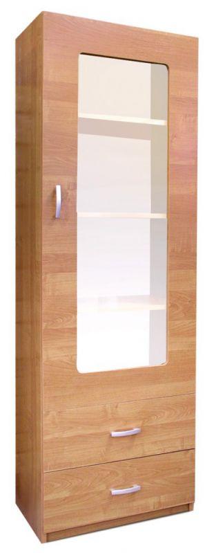 Vitrine Kisaran 18, Farbe: Erle - Abmessungen: 190 x 50 x 40 cm (H x B x T)