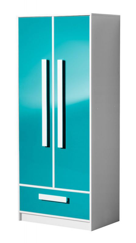 Kinderzimmer - Drehtürenschrank / Kleiderschrank Walter 01, Farbe: Weiß / Blau Hochglanz - 191 x 80 x 50 cm (H x B x T)