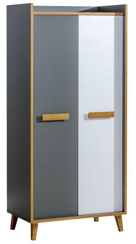 Drehtürenschrank / Kleiderschrank Caranx 1, Farbe: Weiß / Eiche / Anthrazit - Abmessungen: 195 x 90 x 55 cm (H x B x T)