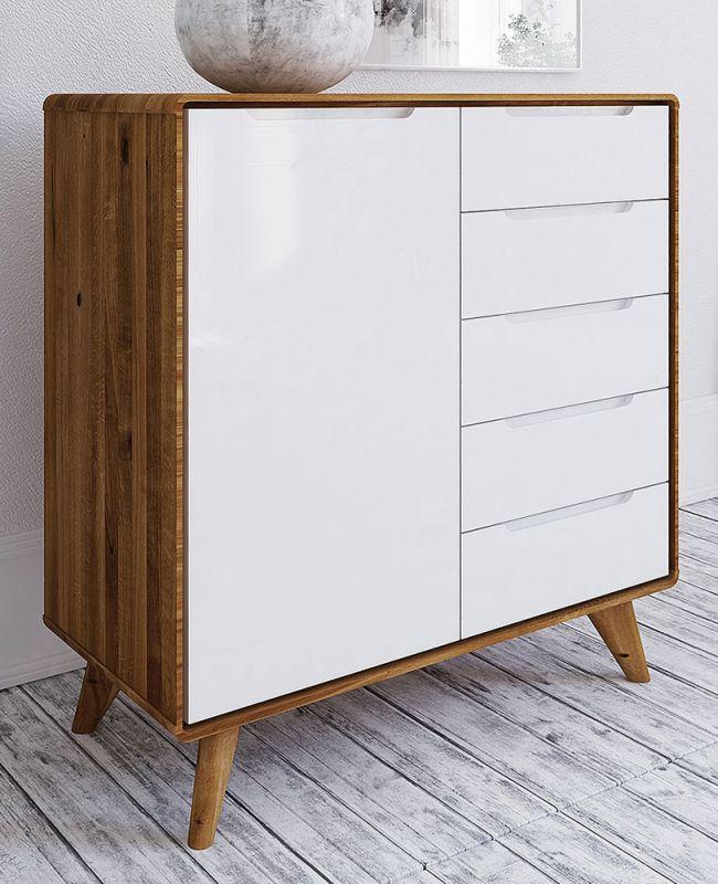 Kommode Timaru 07 Wildeiche geölt / Weiß, teilmassiv - Abmessungen: 92 x 90 x 40 cm (H x B x T)