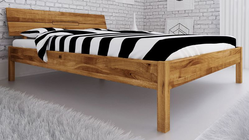 Doppelbett Kapiti 04 Wildeiche massiv geölt - Liegefläche: 160 x 200 cm (B x L)