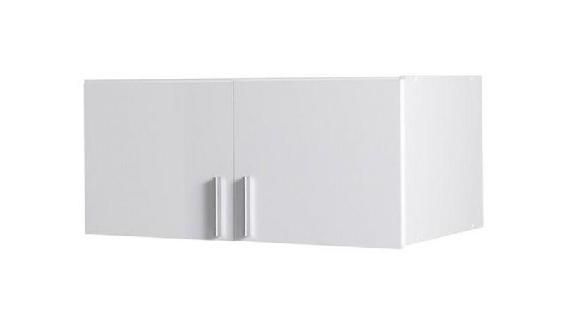 Aufsatz für Drehtürenschrank / Kleiderschrank Messini 02 / 03, Farbe: Weiß / Weiß Hochglanz - Abmessungen: 40 x 92 x 54 cm (H x B x T)