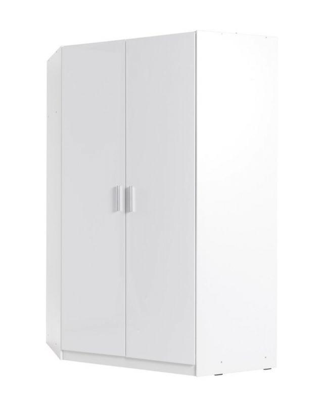 Drehtürenschrank / Eckkleiderschrank Messini 06, Farbe: Weiß / Weiß Hochglanz - Abmessungen: 198 x 117 x 117 cm (H x B x T)