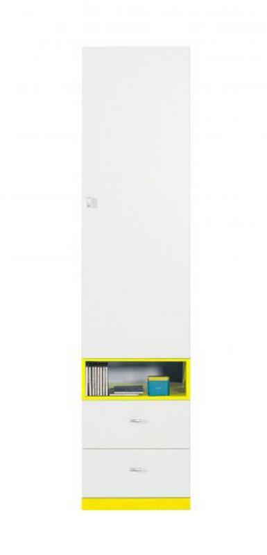 """Jugendzimmer - Schrank """"Geel"""" 24, Weiß / Gelb - Abmessungen: 195 x 45 x 40 cm (H x B x T)"""