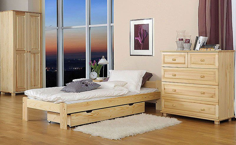 Futonbett / Massivholzbett Kiefer Vollholz massiv natur A8, inkl. Lattenrost - Abmessungen: 80 x 200 cm