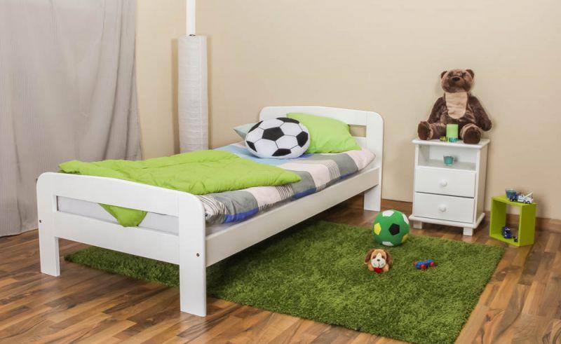 Kinderbett / Jugendbett Kiefer Vollholz massiv weiß lackiert A6, inkl. Lattenrost - Abmessung 90 x 200 cm