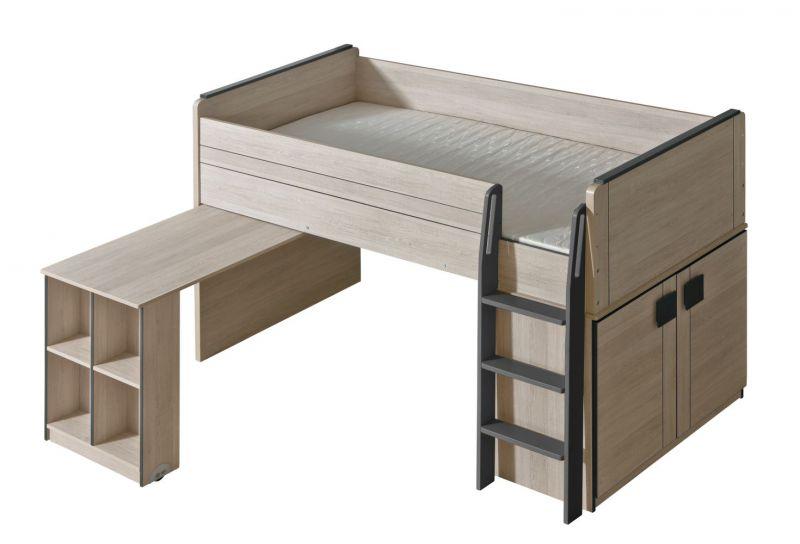 Funktionsbett / Kinderbett / Hochbett - Kombination mit Bettkasten und Schreibtisch Elias 15, Farbe: Hellbraun / Grau - Liegefläche: 90 x 200 cm (B x L)