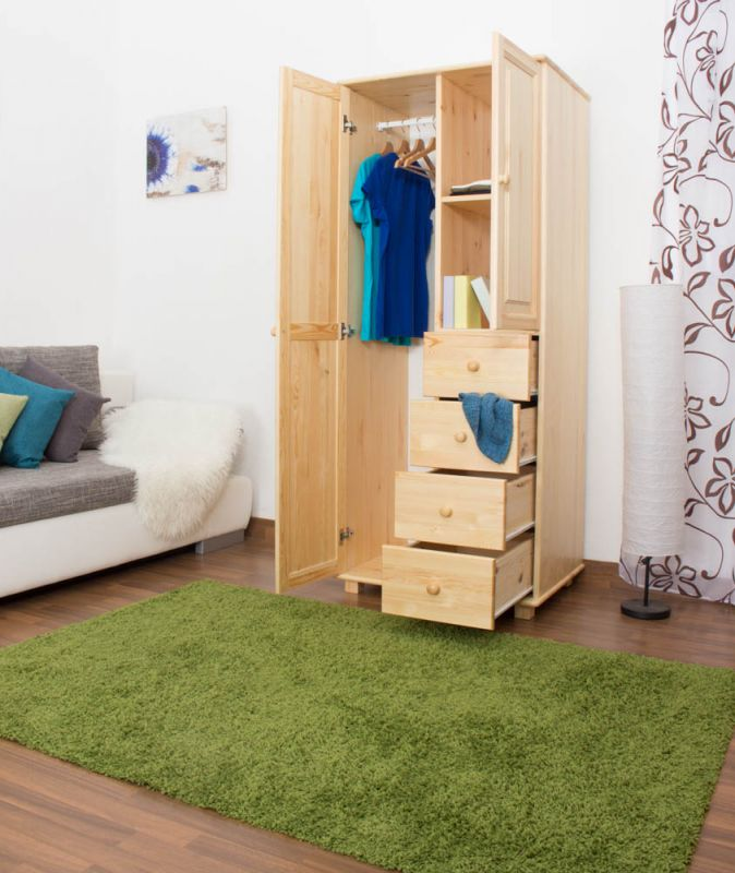 Kleiderschrank Holz natur 009 - Abmessung 190 x 90 x 60 cm (H x B x T)