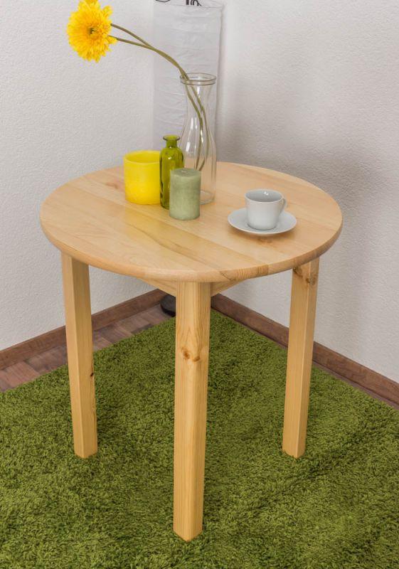 Tisch Kiefer massiv Vollholz natur 003 (rund) - Durchmesser 70 cm
