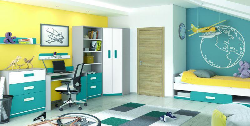 Kinderzimmer Komplett - Set I Renton, 7-teilig, Farbe: Platingrau / Weiß / Blaugrün
