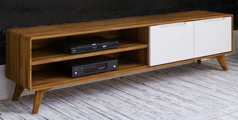 TV-Unterschrank Timaru 29 Wildeiche geölt / Weiß, teilmassiv - Abmessungen: 48 x 180 x 40 cm (H x B x T)