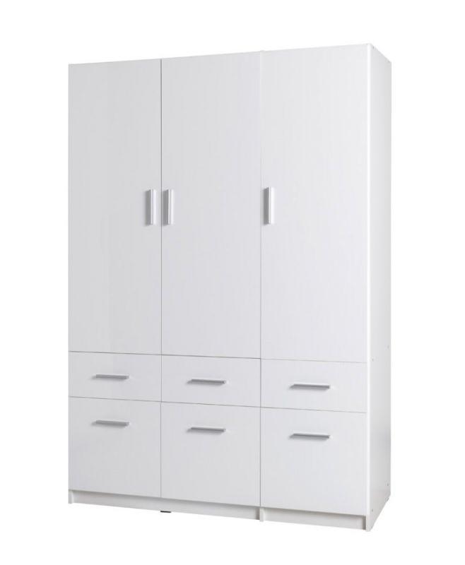 Drehtürenschrank / Kleiderschrank Messini 04, Farbe: Weiß / Weiß Hochglanz - Abmessungen: 198 x 136 x 54 cm (H x B x T)