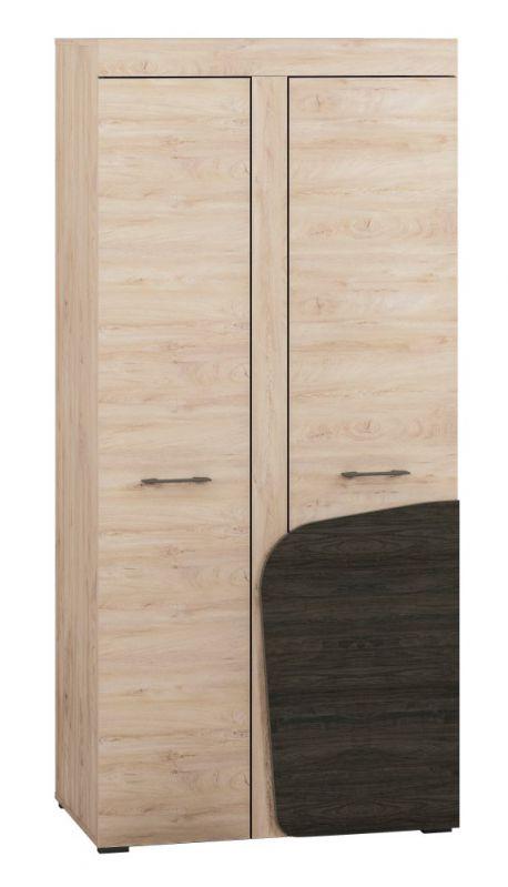 Drehtürenschrank / Kleiderschrank Gainesville 01, Farbe: Eiche hell / Dunkelbraun - Abmessungen: 199 x 92 x 53 cm (H x B x T), mit 2 Türen und 6 Fächern