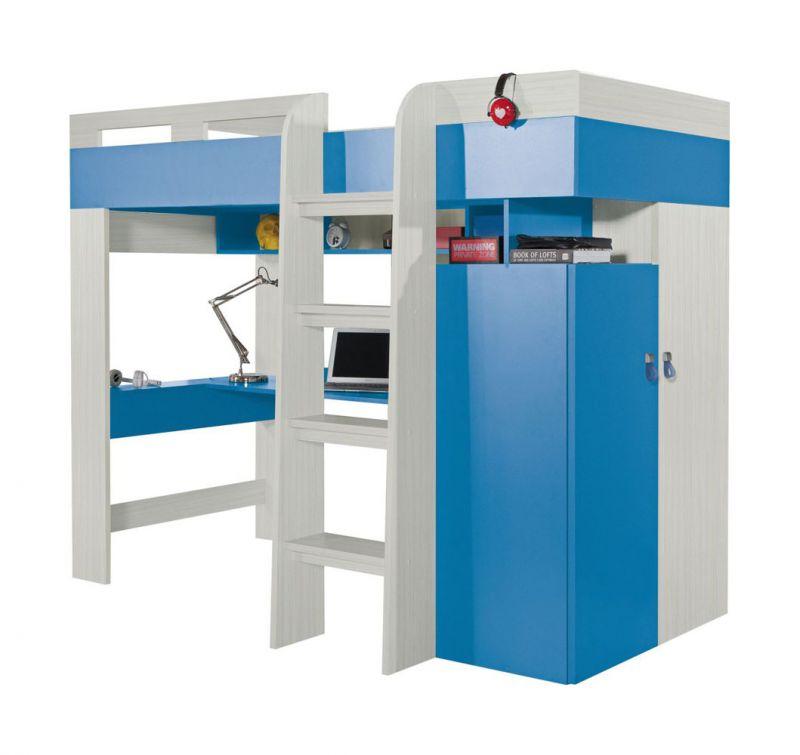 """Kinderbett / Hochbett mit Bettkasten und Schreibtisch """"Felipe"""" 20, Blau / Weiß - Liegefläche: 90 x 200 cm"""