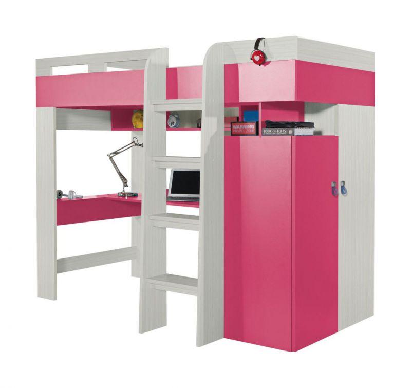 """Kinderbett / Hochbett mit Bettkasten und Schreibtisch """"Felipe"""" 20, Rosa / Weiß - Liegefläche: 90 x 200 cm"""