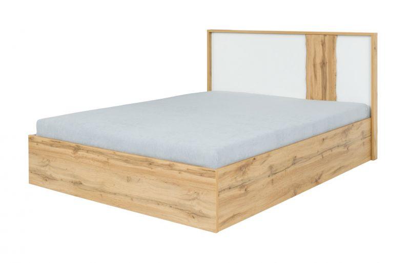 Doppelbett Gavdos 03, Farbe: Eiche / Weiß - Liegefläche: 160 x 200 cm (B x L)