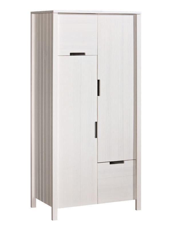 Drehtürenschrank / Kleiderschrank Milo 11, Farbe: Weiß, Kiefer Vollholz massiv - Abmessungen: 187 x 89 x 55 cm (H x B x T)
