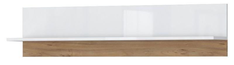 Hängeregal / Wandregal Safotu 05, Farbe: Weiß Hochglanz / Walnuss - 32 x 140 x 22 cm (H x B x T)