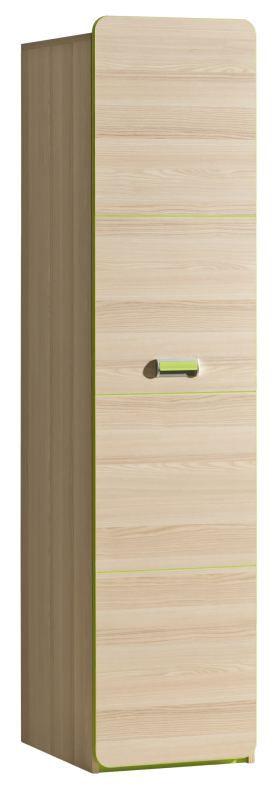 Jugendzimmer - Drehtürenschrank / Kleiderschrank Dennis 02, Farbe: Esche Grün - Abmessungen: 188 x 45 x 52 cm (H x B x T)