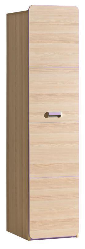 Jugendzimmer - Drehtürenschrank / Kleiderschrank Dennis 02, Farbe: Esche Lila - Abmessungen: 188 x 45 x 52 cm (H x B x T)