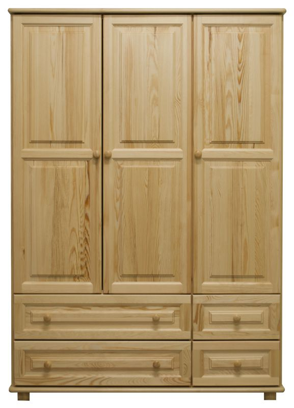 Kleiderschrank Massivholz natur 017 - Abmessung 190 x 133 x 60 cm (H x B x T)