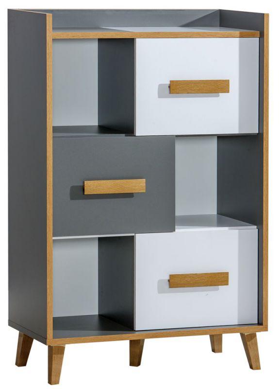 Regal Caranx 5, Farbe: Weiß / Eiche / Anthrazit - Abmessungen: 135 x 90 x 42 cm (H x B x T)