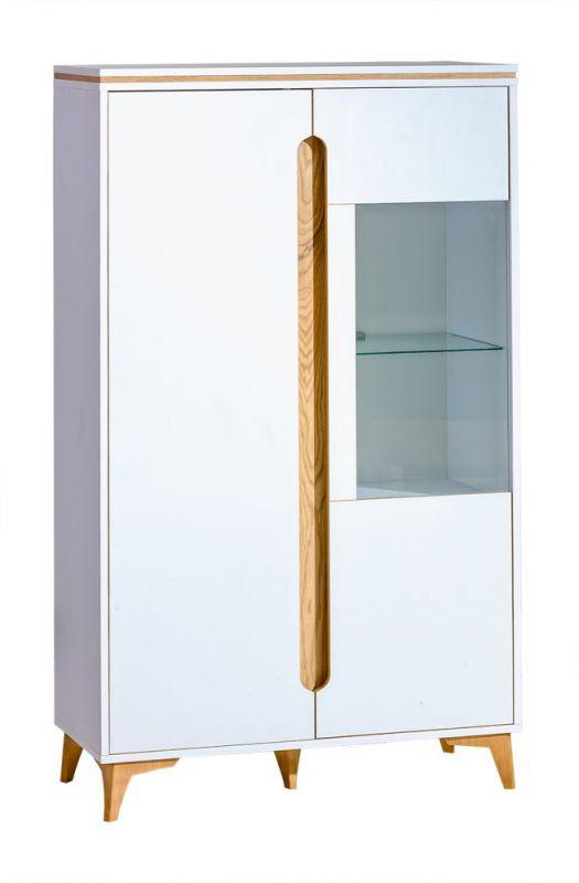 Vitrine Amanto 5, Farbe: Weiß / Esche - Abmessungen: 151 x 90 x 40 cm (H x B x T)