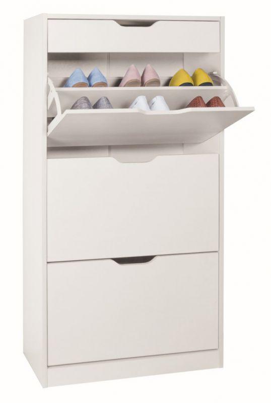 Schuhschrank Furna 23, Farbe: Weiß - Abmessungen: 119 x 63 x 24 cm (H x B x T)
