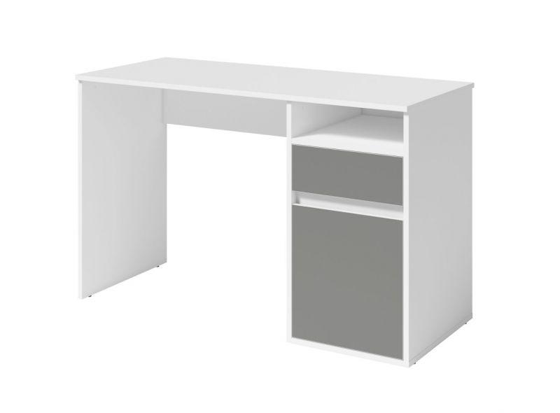 Schreibtisch Korinth 01, Farbe: Weiß / Grau - Abmessungen: 76 x 120 x 53 cm (H x B x T)