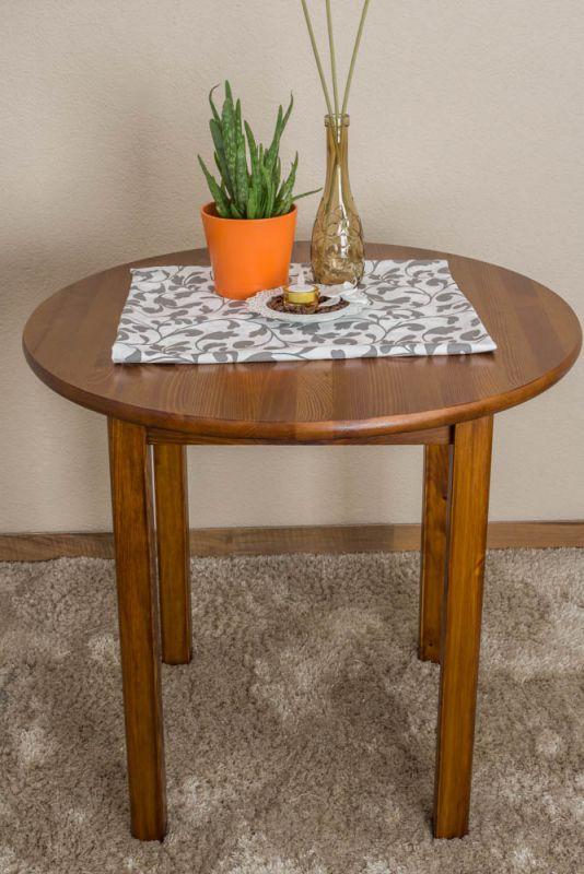 Tisch Kiefer massiv Vollholz Eichefarben 003 (rund) - Durchmesser 80 cm