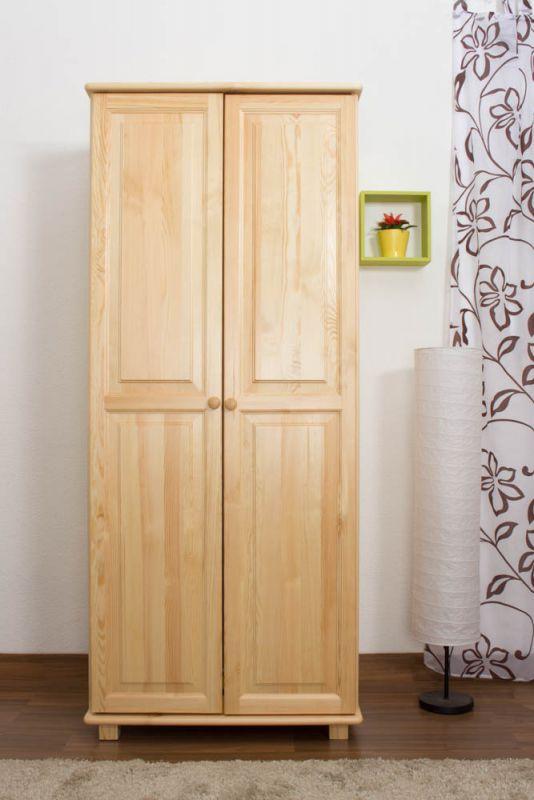 Kleiderschrank Kiefer Vollholz massiv natur 007 - Abmessung 190 x 80 x 60 cm (H x B x T)