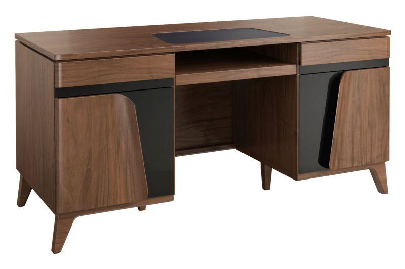 Schreibtisch Pazin 29, Farbe: Nuss / Schwarz, teilmassiv - 79 x 162 x 75 cm (H x B x T)
