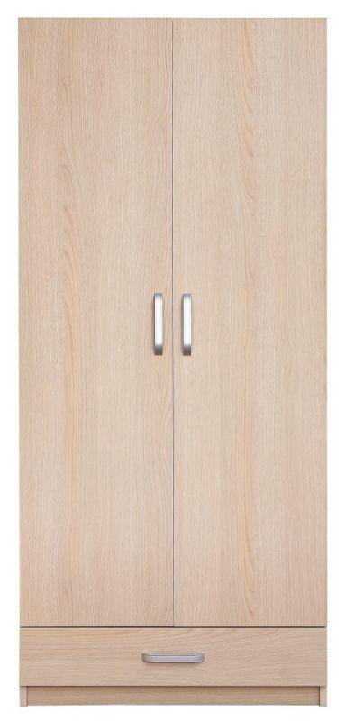 Drehtürenschrank / Kleiderschrank Kisaran 17, Farbe: Sonoma Eiche - Abmessungen: 180 x 80 x 50 cm (H x B x T)