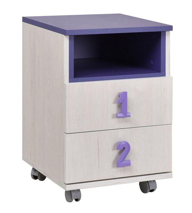 Kinderzimmer - Rollcontainer Luis 23, Farbe: Eiche Weiß / Lila - 60 x 40 x 42 cm (H x B x T)