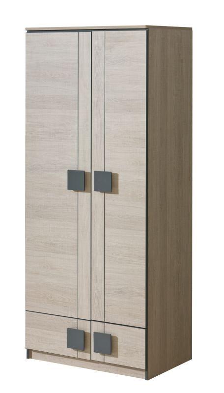 Jugendzimmer - Drehtürenschrank / Kleiderschrank Elias 01, Farbe: Hellbraun / Grau - Abmessungen: 187 x 80 x 52 cm (H x B x T)