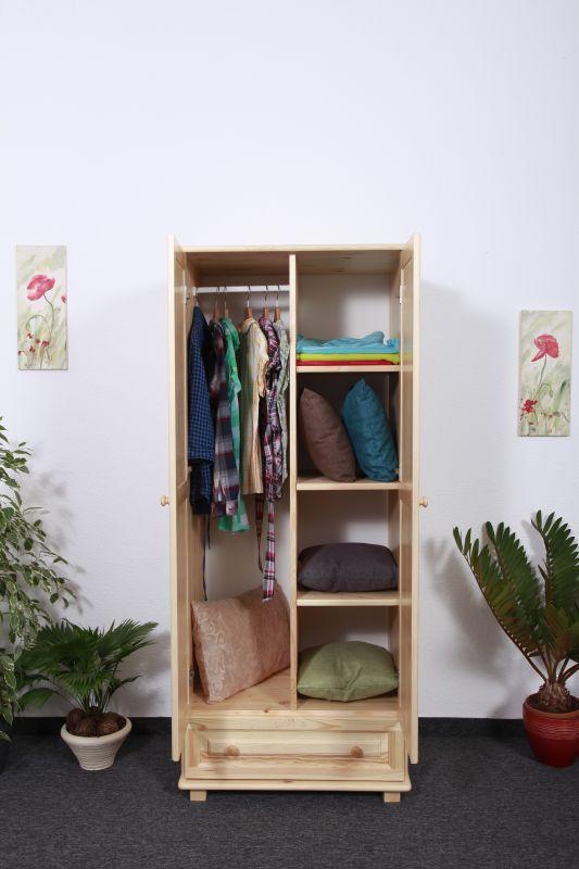 Kleiderschrank Massivholz natur 006 - Abmessung 190 x 80 x 60 cm (H x B x T)