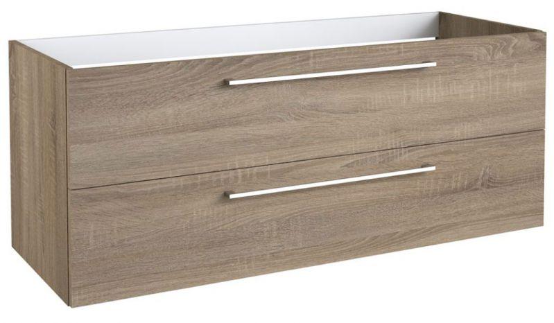 Waschtischunterschrank Rajkot 32 mit Siphonausschnitt, Farbe: Eiche – 50 x 119 x 45 cm (H x B x T)