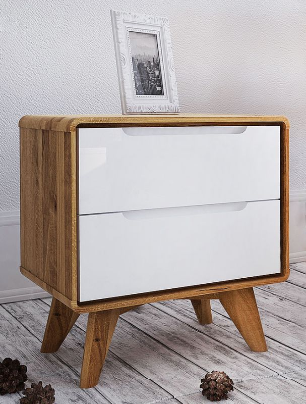 Nachtkommode Timaru 14 Wildeiche geölt / Weiß, teilmassiv - Abmessungen: 48 x 47 x 30 cm (H x B x T)
