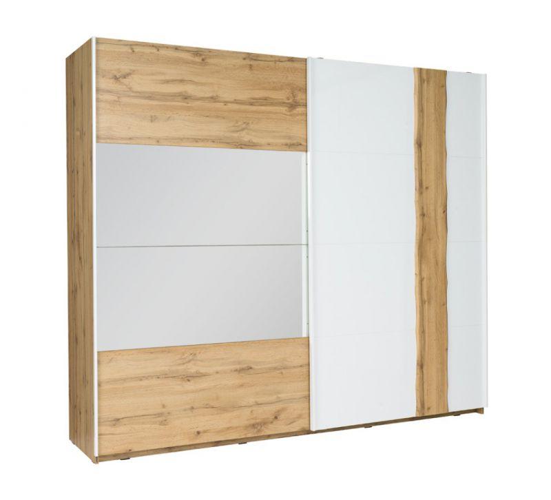 Schiebetürenschrank / Kleiderschrank Gavdos 02, Farbe: Eiche / Weiß Hochglanz - Abmessungen: 218 x 250 x 67 cm (H x B x T)