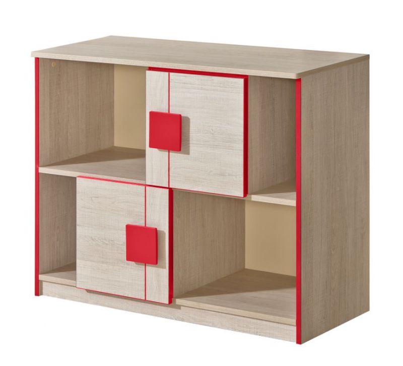 Jugendzimmer - Kommode Elias 17, Farbe: Hellbraun / Rot - Abmessungen: 79 x 96 x 40 cm (H x B x T)