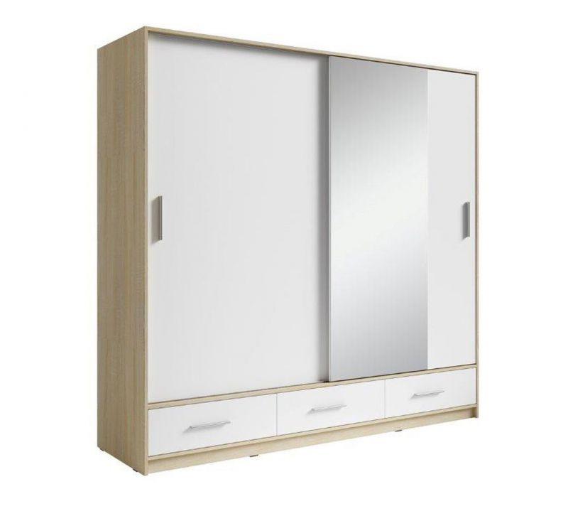 Schiebetürenschrank / Kleiderschrank Ornos 02, Farbe: Eiche / Weiß - Abmessungen: 212 x 200 x 64 cm (H x B x T)