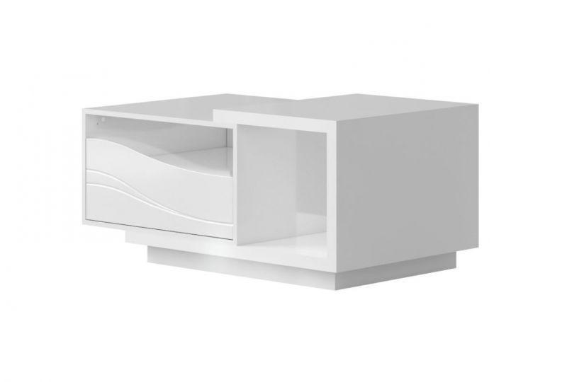 Couchtisch Patamea 05, Farbe: Weiß Hochglanz - 110 x 67 x 51 cm (B x T x H)