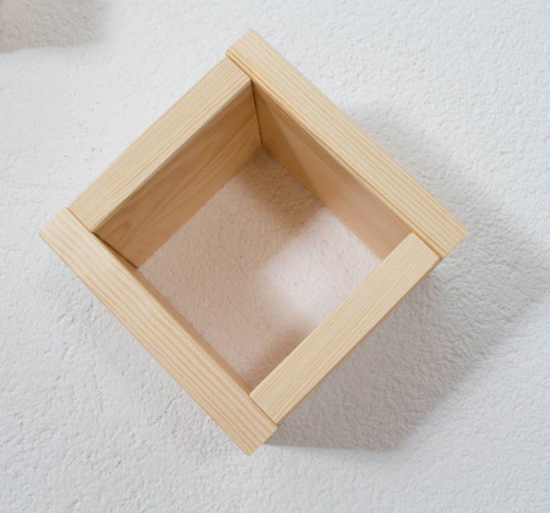 Hängeregal / Wandregal Kiefer massiv Vollholz natur Junco 283D - Abmessung 15 x 15 x 12 cm